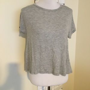 NWOT Good Luck Girl Gray Cropped Shirt Top XL